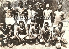 The police FC showing a trophy they won at Sudan in 1967
